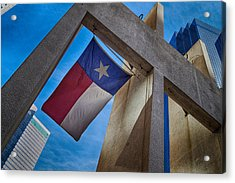 Acrylic Print featuring the photograph Texas State Flag Downtown Dallas by Kathy Churchman