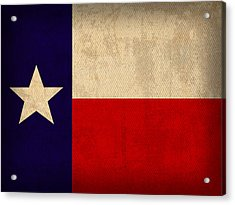 Texas State Flag Lone Star State Art On Worn Canvas Acrylic Print by Design Turnpike
