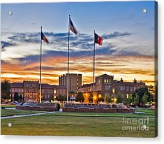 Acrylic Print featuring the photograph Memorial Circle At Sunset by Mae Wertz