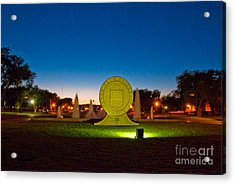 Acrylic Print featuring the photograph Texas Tech Seal At Night by Mae Wertz