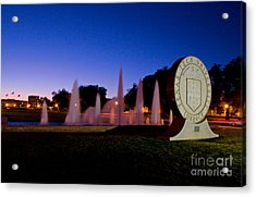 Acrylic Print featuring the photograph Texas Tech University Seal And Blue Sky by Mae Wertz