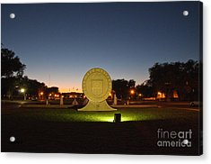Acrylic Print featuring the photograph Texas Tech University Seal At Sundown Second Image by Mae Wertz