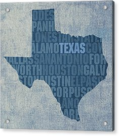 Texas Word Art State Map On Canvas Acrylic Print by Design Turnpike