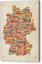 Text Map Of Germany Map Acrylic Print