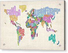 Text Map Of The World Map Acrylic Print by Michael Tompsett