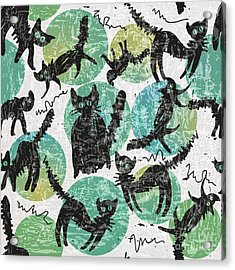 Textured Background With Black Cats And Acrylic Print