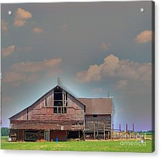 Acrylic Print featuring the photograph Textured - Grey Barn by Gena Weiser