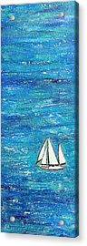 Textured Sea With Sailboat Acrylic Print by Lauretta Curtis