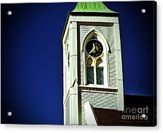 Acrylic Print featuring the photograph Textured Steeple Clock by Gena Weiser