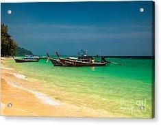 Thai Longboats Acrylic Print by Adrian Evans