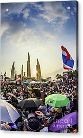 Thailand's Protest At Democracy Monument Against The Government  Acrylic Print