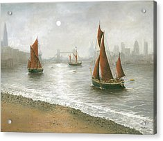 Thames Barges By Tower Bridge London Acrylic Print by Eric Bellis