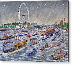 Thames Diamond Jubilee Pageant  Acrylic Print by Ronald Haber