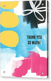 Thank You So Much- Colorful Greeting Card Acrylic Print