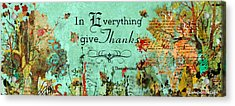 Thanksgiving Autumn Themed Inspirational Plaque Acrylic Print by Janelle Nichol