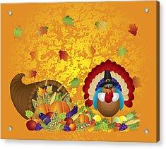 Thanksgiving Day Feast Cornucopia Turkey Pilgrim With Background Acrylic Print
