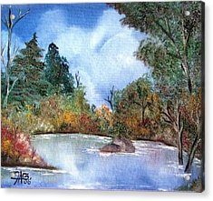 Acrylic Print featuring the painting That Emerald Place Of Natures Beauty At Looking Glass Pond by The GYPSY And DEBBIE