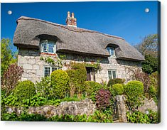 Thatched Cottage Godshill Isle Of Wight Acrylic Print by David Ross