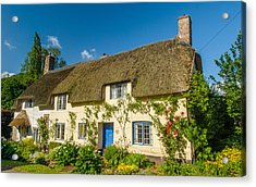 Thatched Cottage In Dunster Somerset Acrylic Print by David Ross