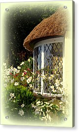 Thatched Cottage Window Acrylic Print by Carla Parris