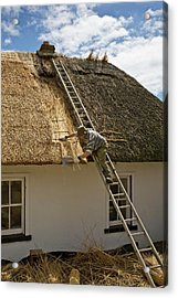 Thatching A Cottage,dunmore East Acrylic Print