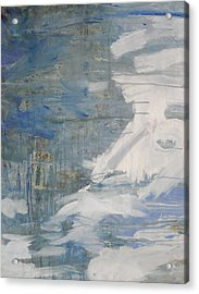 Acrylic Print featuring the painting Thaw Water Ice Abstraction by John Fish
