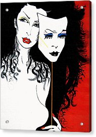 Acrylic Print featuring the painting The 2 Face Girl by Nora Shepley