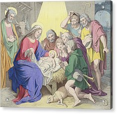 The Adoration Of The Shepherds Acrylic Print by German School