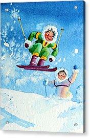 The Aerial Skier - 10 Acrylic Print by Hanne Lore Koehler
