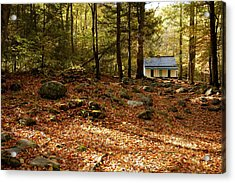 The Alfred Reagan Cabin Autumn Acrylic Print by John Saunders