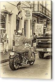 The American Way - Harleys Pickups And Huge Ass Beers - Sepia Acrylic Print by Steve Harrington