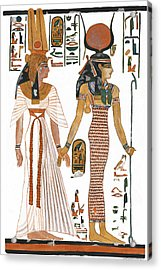 The Ancient Egyptian Goddess Isis Leading Queen Nefertari Acrylic Print by Ben  Morales-Correa