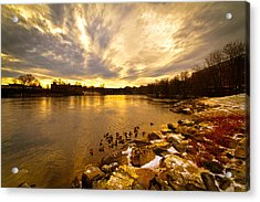 The Androscoggin River Between Lewiston And Auburn Acrylic Print by Bob Orsillo