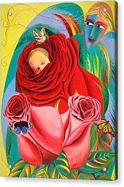 The Angel Of Roses Acrylic Print by Israel Tsvaygenbaum