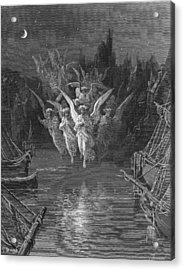 The Angelic Spirits Leave The Dead Bodies And Appear In Their Own Forms Of Light Acrylic Print by Gustave Dore
