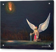 The Anointing Of St Michael Acrylic Print by Anthony Lyon