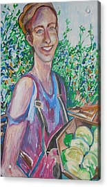 The Apple Picker Acrylic Print by Esther Newman-Cohen