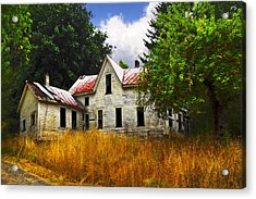 The Apple Tree On The Hill Acrylic Print by Debra and Dave Vanderlaan