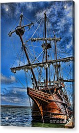 The Approaching Storm - Spanish Galleon Acrylic Print by Lee Dos Santos