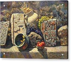 The Armenian Still Life With Cross  Stone Khachkar Acrylic Print by Meruzhan Khachatryan