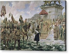 The Arrival Of Roger De Flor 1280-1307 In Constantinople In 1303 With 8000 Almogavares Serving Acrylic Print