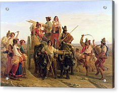 The Arrival Of The Harvesters In The Pontine Marshes, 1830 Oil On Canvas Acrylic Print