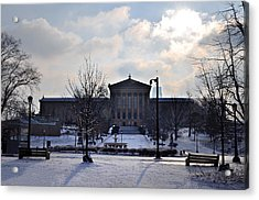 The Art Museum In The Snow Acrylic Print by Bill Cannon