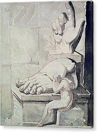 The Artist In Despair Over The Magnitude Of Antique Fragments Right Hand And Left Foot Acrylic Print by Henry Fuseli
