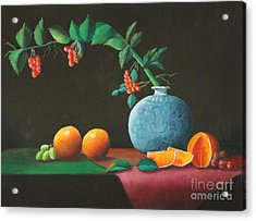 The Asian Vase And Oranges Acrylic Print
