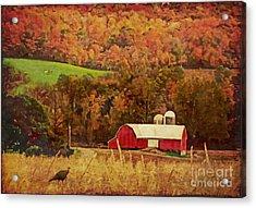 Acrylic Print featuring the digital art The Autumn Barn by Lianne Schneider