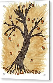 The Autumn Forest Will Die Happily To Re-birth A Tree Created With Tea Acrylic Print by Nikunj Vasoya