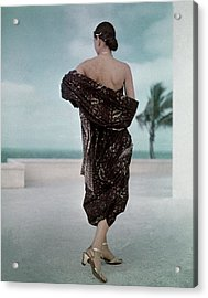 The Back Of A Woman Wearing A Brown Dress Acrylic Print