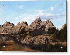 The Badlands In South Dakota Oil Painting Acrylic Print