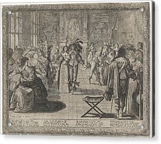 The Ball, Interior With Elegant Company Acrylic Print by Cornelis Danckerts Abraham Bosse